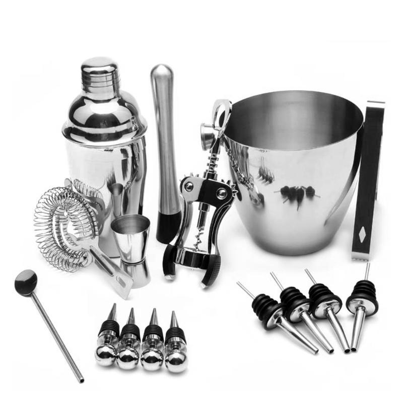 16pcs/set Stainless Steel Wine Mixer Liquor Cocktail Shaker Ice Clip Bucket Bartender Tools Bar Set Wine Shaker Bar Accessories