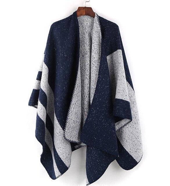 Brossé Stitch Blanket Cape D hiver Pour Femmes Enveloppe Chaud Rayé Écharpe  Poncho Châle Patchwork 6f9d2541171