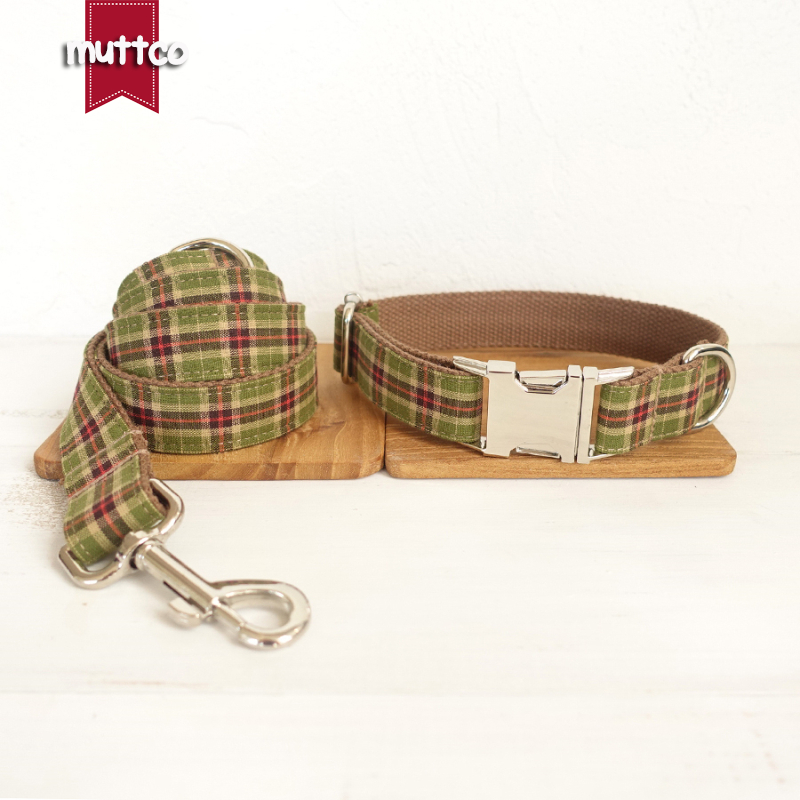 MUTTCO retailing self-designed environmental fashionable dog accessories set THE TREE PLAID dog collar and leash 5 sizes UDC040