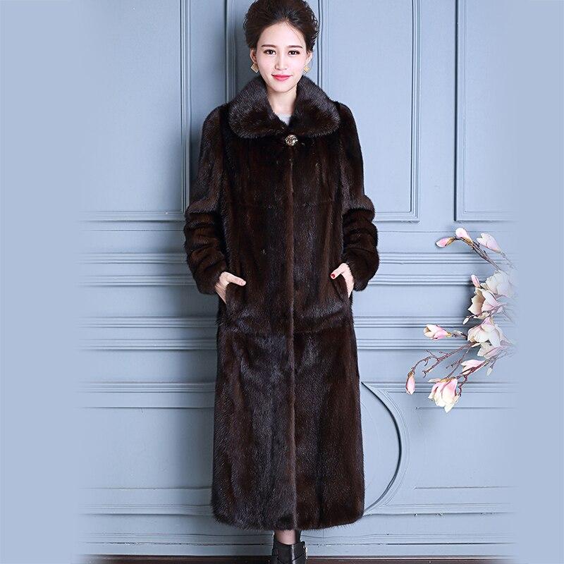 Nerazzurri Réel De Fourrure De Vison Manteau Chine Manches Longues Extra Long De Luxe Dames Naturel Vison Manteaux Femmes Pardessus Plus La Taille 5Xl 6XL 7XL