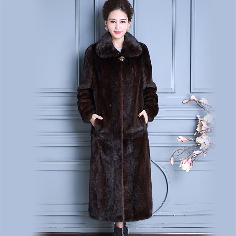 Nerazzurri Real Mink Fur Coat China Long Sleeve Extra Long Luxury Ladies Natural Mink Coats Women Overcoat Plus Size 5Xl 6XL 7XL