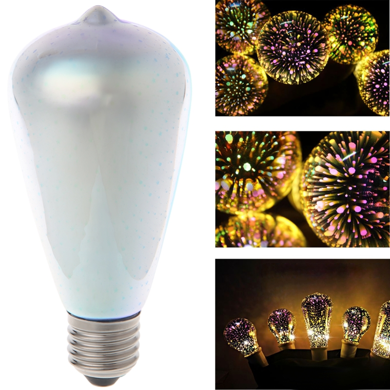 2018 Fashion E27 ST64 Colourful 3D Star Shine Decoration Multiple Reflection Alluminum Plated Glass