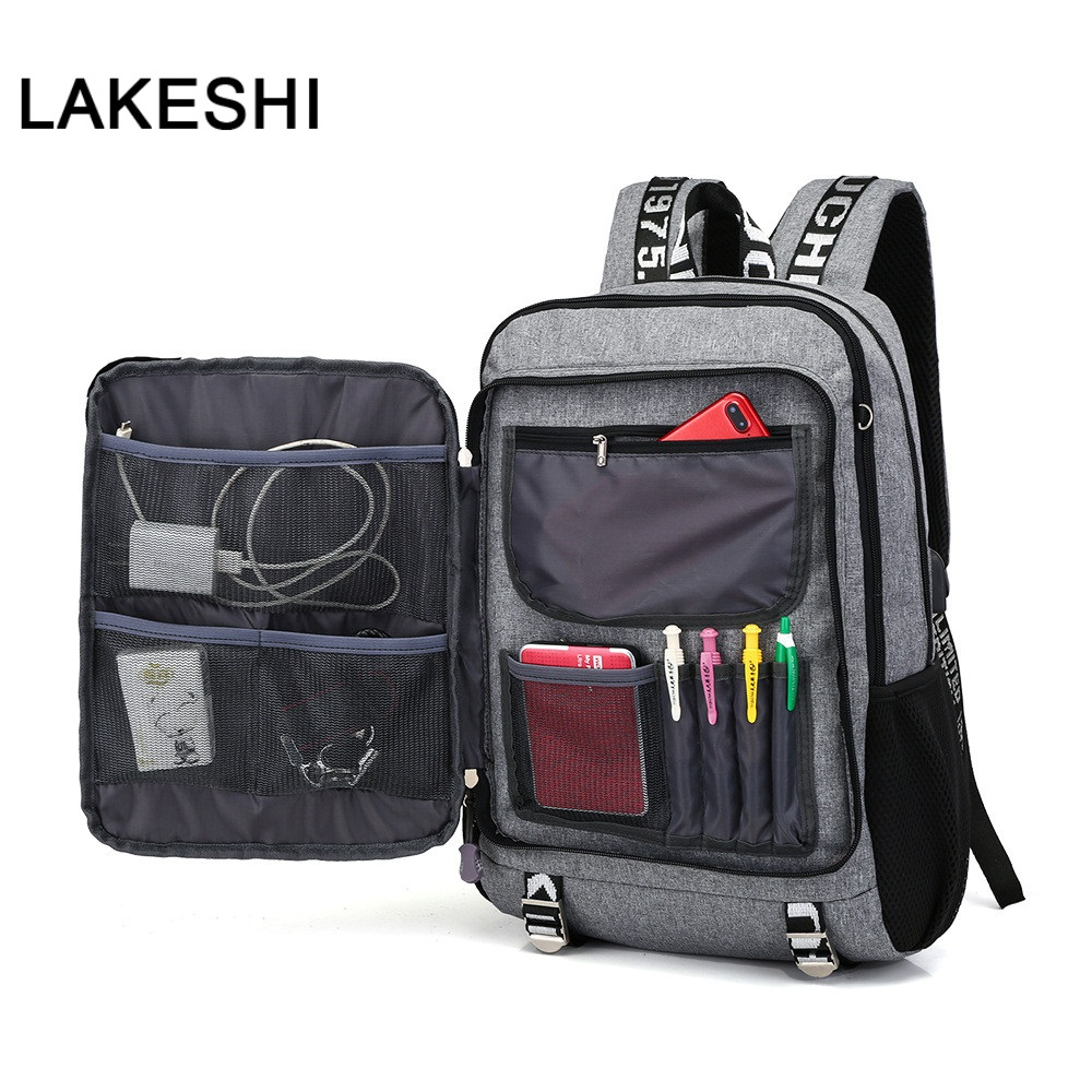 USB Charging Student <font><b>Backpack</b></font> <font><b>School</b></font> Bags Waterproof Casual Travel <font><b>Backpack</b></font> Schoolbag <font><b>School</b></font> <font><b>Backpacks</b></font> <font><b>For</b></font> <font><b>Teenage</b></font> Boy Pack Back image