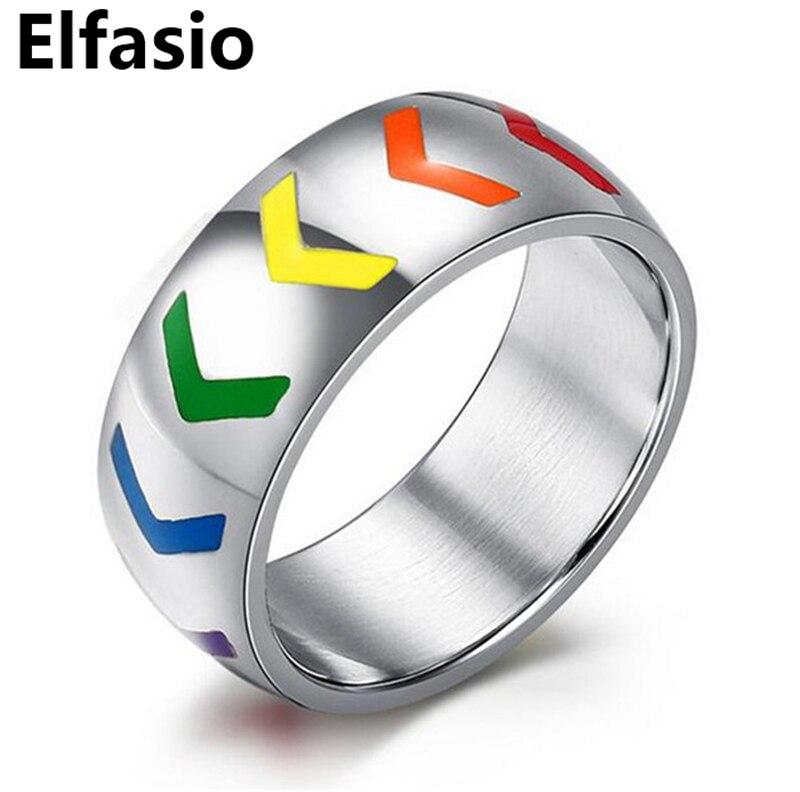 gay lesbian lgbt pride jewelry rainbow cubic zirconia arrow fashion wedding engagement ring size 6 - Gay Wedding Rings