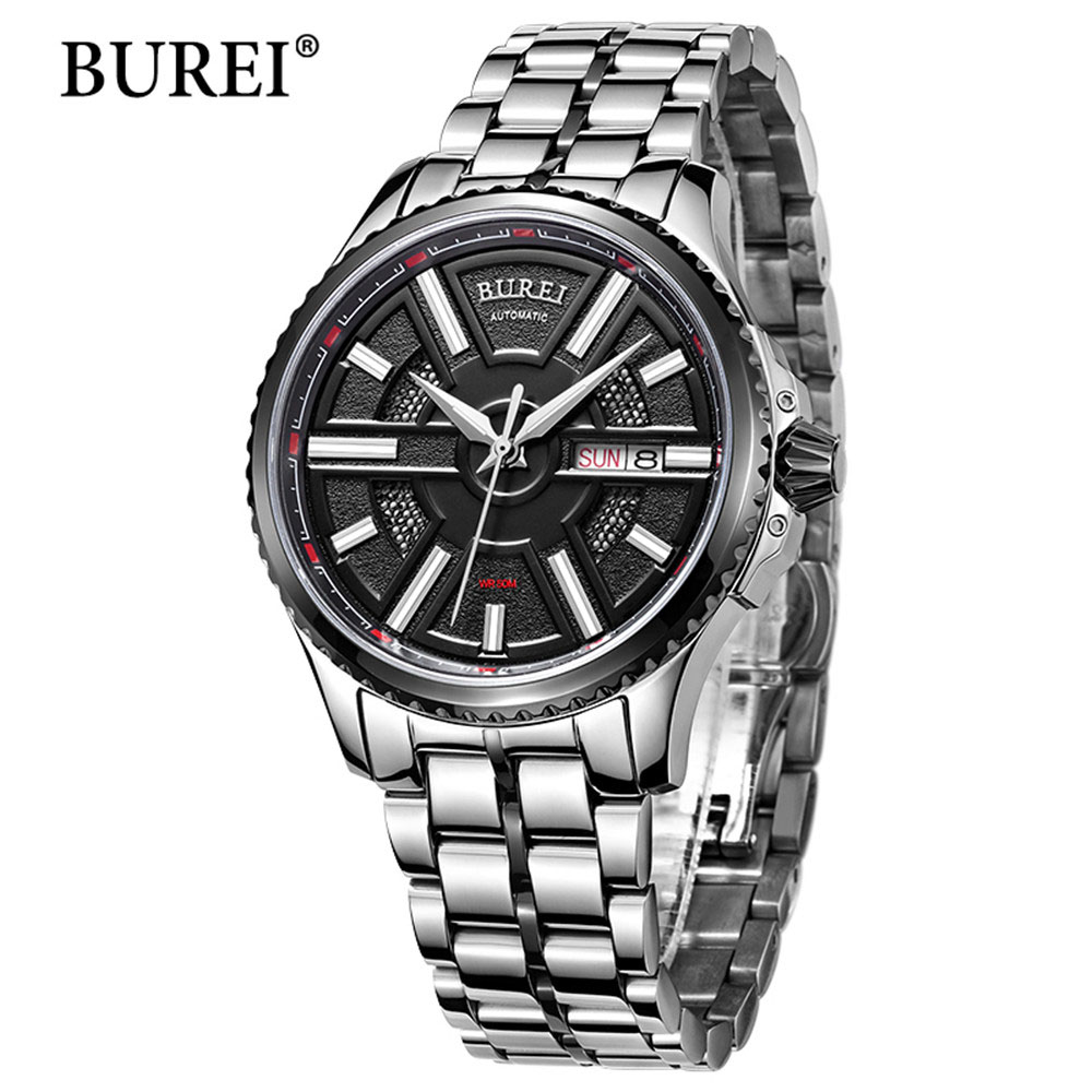 BUREI Watches Classic Mens AUTO Date Automatic Mechanical Watch Self-Winding Analog Stainless Steel Man Wristwatch Sapphire все цены