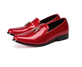 Grande Zapatos 46 Boda Diseñador Charol Hombres De Rojos Vestir 47 Talla Puntiagudos fgY6v7by