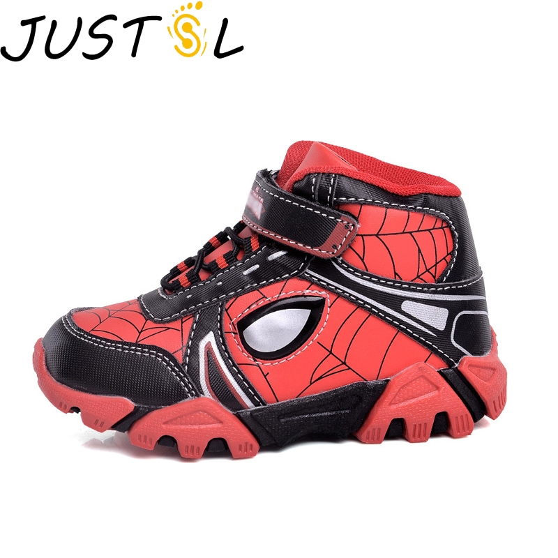 JUSTSL 2018 boy spider cartton style cool led sports shoes children light fashion sneakers kids glowing running shoes size 27-33JUSTSL 2018 boy spider cartton style cool led sports shoes children light fashion sneakers kids glowing running shoes size 27-33