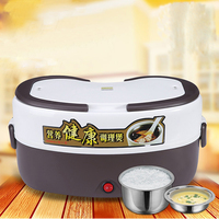 Double liner tank 2.6L Electrical heating box potable picnic lunch cabinet keep wram food container mini cooker