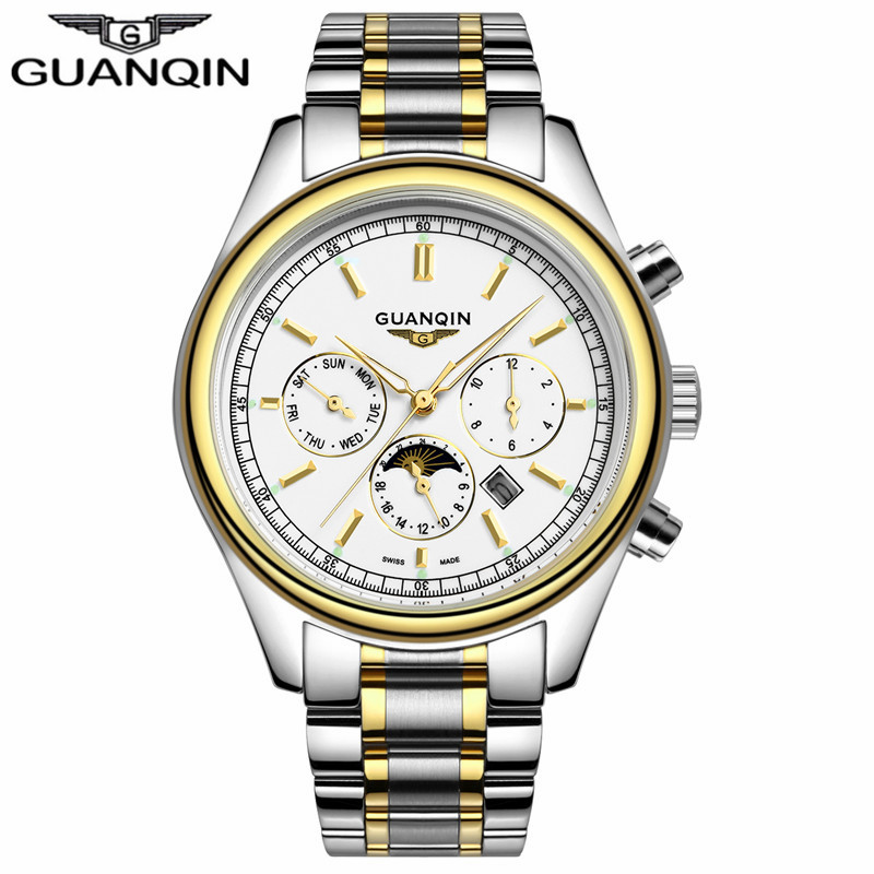 ФОТО GUANQIN GQ12002 New Business watches Men Luxury Brand men's watch Full steel bracelet Casual Quartz Watch Sports Military Clock