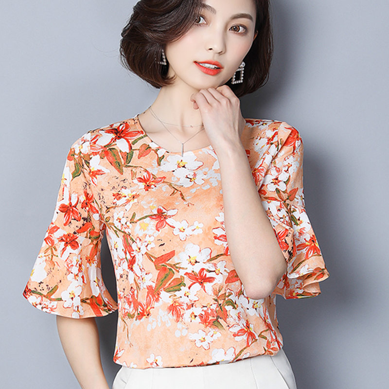 6645c64b3ef Women Blouse 2018 Summer Top Sexy Ladies Tops And Blouses Floral Print  Chiffon Shirt Short Flare Sleeve Clothing Plus Size Blusa-in Blouses &  Shirts from ...