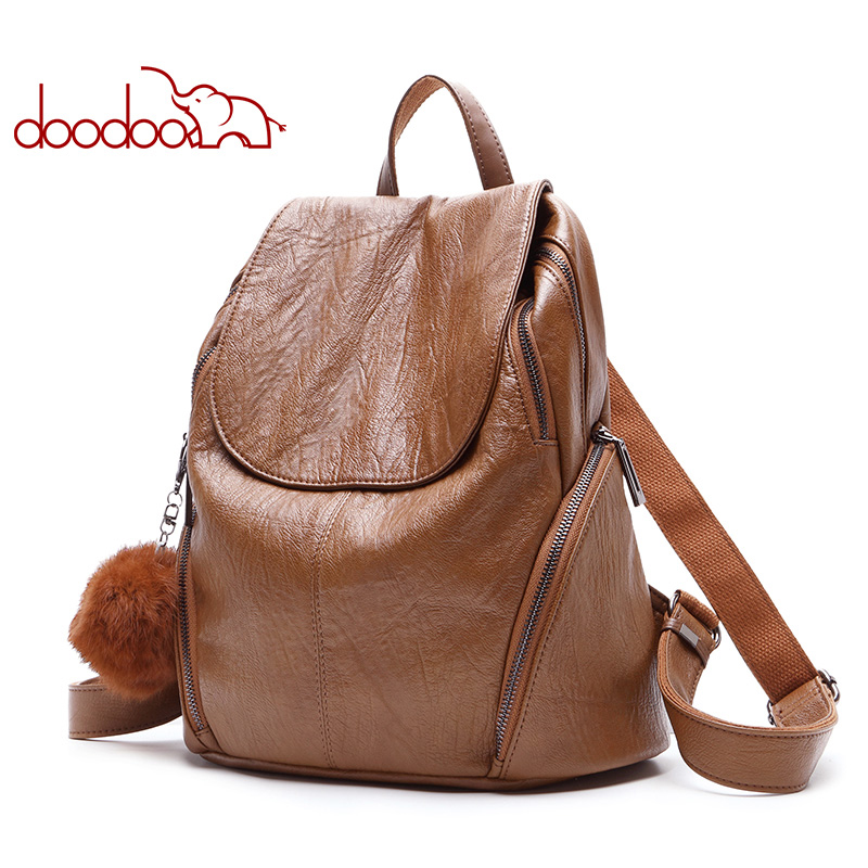 DOODOO Fashion Teen Backpack Women Bag Pu Leather Backpacks Travel Multifunctional School Bags Bear Ornaments 2018 New Back Pack doodoo fashion streaks women casual bear backpacks pu leather school bag for girl travel bags mochilas feminina d532