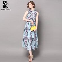 spring summer runway designer womans dresses sky blue calf length dress purple geometric pattern print fashion pleated dress