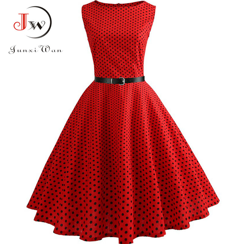 Summer Womens Dresses 2019 Casual Floral Retro Vintage 50s 60s Robe Rockabilly Swing Pinup Vestidos Valentines Day Party Dress