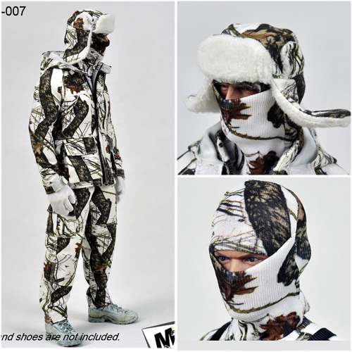 1/6 Scale M-007 Winter Snow Camouflage Outdoor Clothes Suit with Stand for 12 inches Action Figures Bodies цены