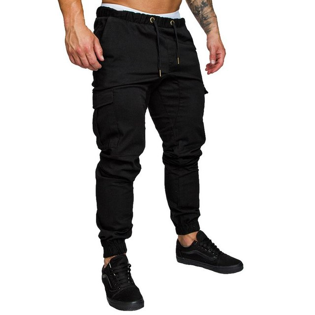 HEFLASHOR 2019 Popular Men Pants Hip  Harem Joggers Fashion  Solid Elastic Waist Trousers Casual Pockets Mens Sweatpants