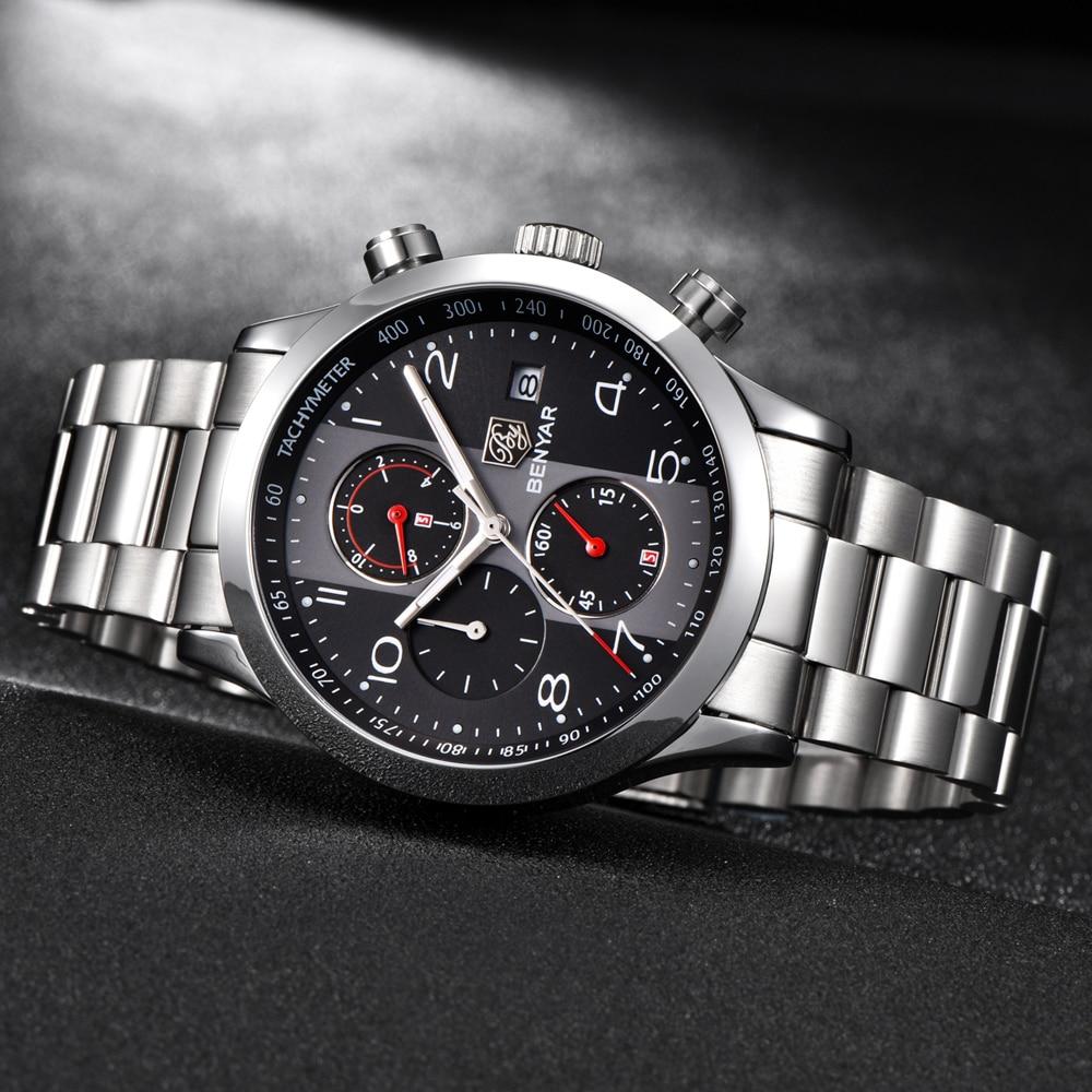 0f2123c2545c BENYAR de moda de deporte cronógrafo hombres relojes de correa de ...