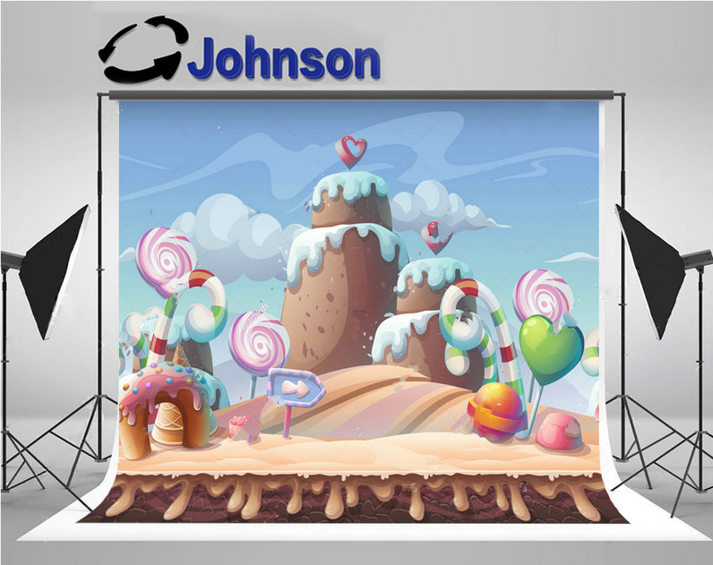 caramel sweet candy landscape clouds backdrops Vinyl cloth High quality Computer print children kids background