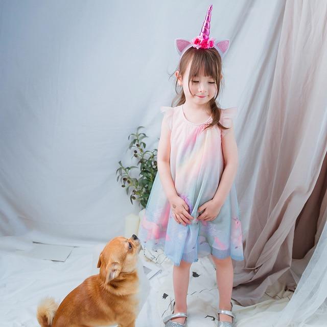 5180 Fly Sleeve Unicorn Pattern Princess Baby Girl Dress New Summer Wedding Party Kid Dress For