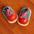 1 unid Moda Niños Montessori de Juguetes Educativos Para Niños Juguetes De Madera Niño Pequeño Cordón de Zapatos de Material Didáctico Montessori Educación Temprana