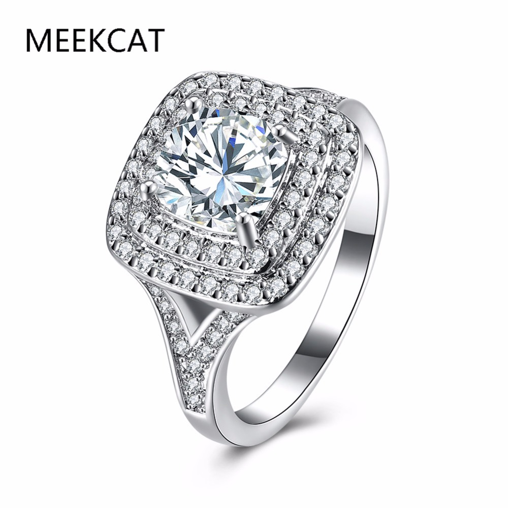 Meekcat Costume Jewelry Engagement Rings Wholesale For Women Silver Luxury  Crystal Ring Bagues En Diamant Pour