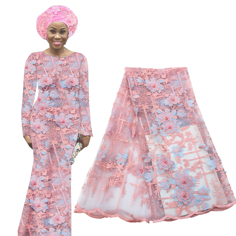 Latest African 3D Flower Lace Fabric Nigerian Stripe Embroidered Laces Fabric French Tulle Voile Lace Fabric For Wedding Party