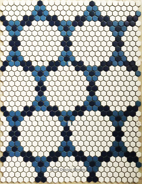 Nordic White Blue Hexagon Puzzle Art Ceramic Mosaic Tile For Bars Salon Swimming Pool Floor