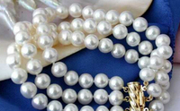 3row 8-9mm round white freshwater pearl bracelet bangle Natural >>free shipping