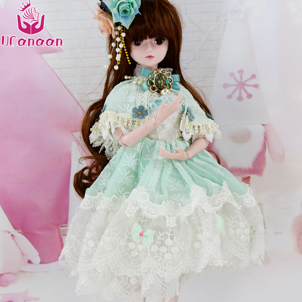 UCanaan 1/3 Princess SD Doll 60CM BJD Dolls For Girls Free Face Makeup Human Body With Outfit Dress Wig Shoes DIY Kids Toys 5cm pu leather doll princess shoes for bjd dolls lace canvas mini toy shoes1 6 bjd snickers for russian doll accessories