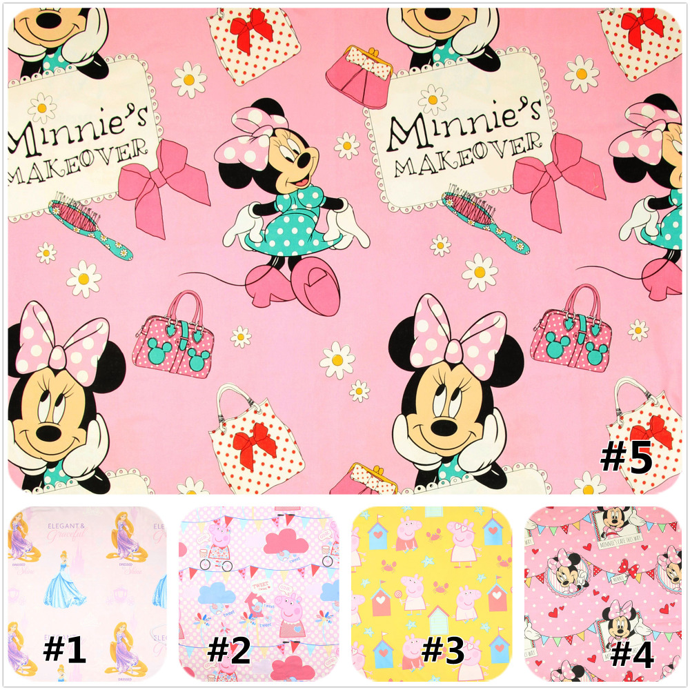 half meter plain cartoon pulp cotton fabric, beauty girl little pig minnie print cloth, handmade DIY bag tissue A658