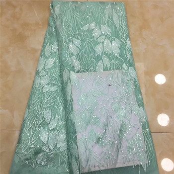 Latest Nigerian Mint Green Tulle Lace 2018 French Net Sequins Lace Fabric For Wedding Embroidery African Lace Fabric white peach