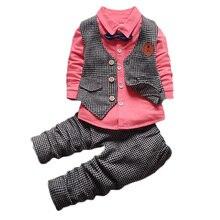 Printemps/automne Enfants bébé garçons formelle parti Vêtements Définit survêtement 3 pcs ensembles arc t-shirt + pantalon + plaid gilet Costume Survêtement ensembles