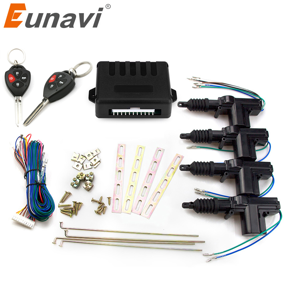 Eunavi Auto car remote central Locking 4 Door Keyless Entry System 360 Degree Rotation car kit 12V Car Power Door Lock Actuator door lock motor general purpose actuator kit door lock motor keyless entry concentrated for universal car 12 v power door lock