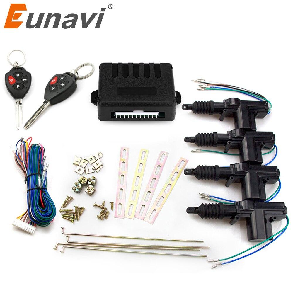 Eunavi Auto voiture verrouillage centralisé à distance 4 portes système d'entrée sans clé 360 degrés Rotation voiture kit 12 V voiture puissance porte serrure actionneur