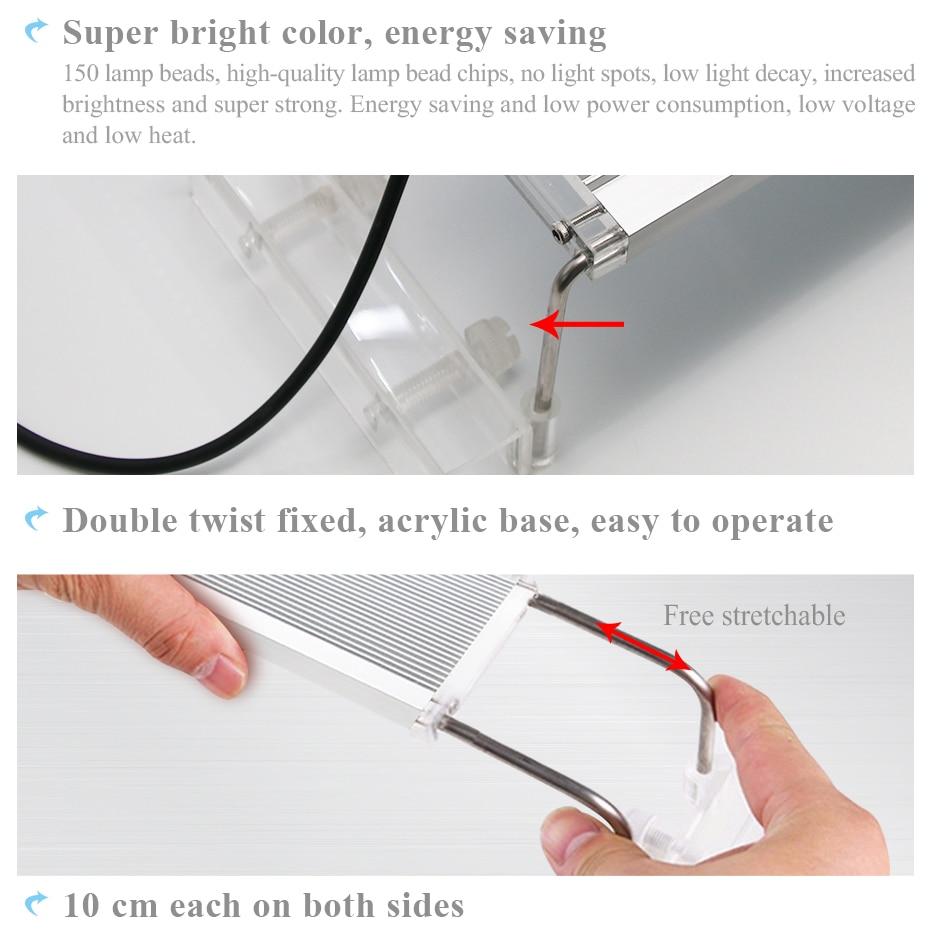 50-70CM RGB SMD 5050 Aquarium LED Lighting Extendable Bracket Clip On Marine Led Light For Fish Tank Lamp For Aquarium Light Led (3)