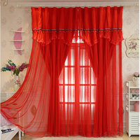 Gorgeous Wedding Curtains Set With Beads Lace for living Room Bedroom Beautiful Joyous Red Customized Wedding Decoration