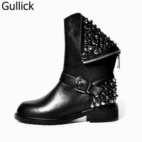 Autumn Winter Top Selling High Quality Rivets Studded Riding Boots Back Zipper Crystal Round Toe Woman