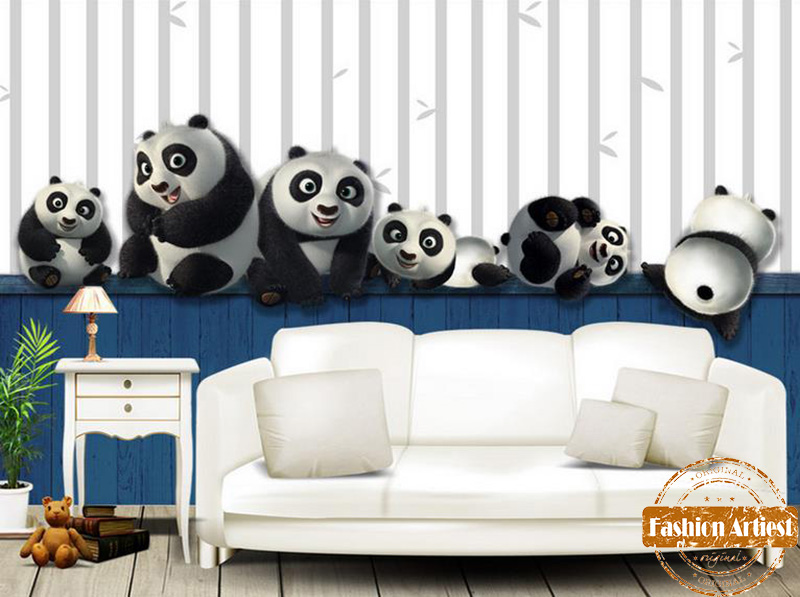 Custom kids boys cartoon wallpaper mural panda playing bamboo tv sofa children bedroom living room cafe restaurant background