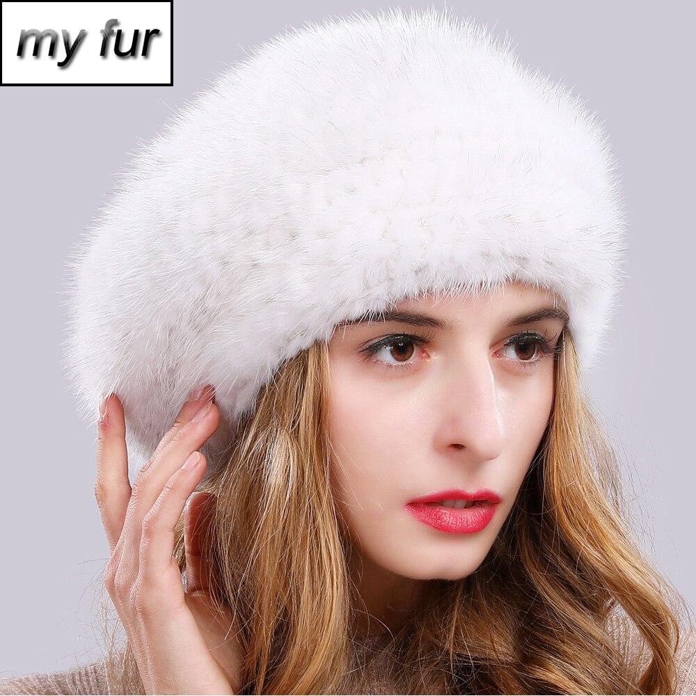 2019 New Winter Lady Natural Mink Fur Beanies Hat Knit Warm Striped Genuine Mink Fur Caps