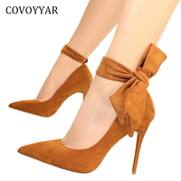 COVOYYAR 2018 Bowtie Ankle Strap Women's Pumps Spring 2 Wears Pointed Toe Stiletto High Heels Flock Party Wedding Shoes WHH626