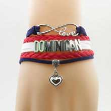 infinity national dominican Bracelet heart Charm fashion dominican national flag bracelets & bangles for Woman and man jewelry(China)