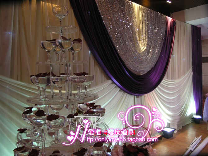 Luxury White wedding stage backdrops decoration romantic wedding curtain with grape purple swags