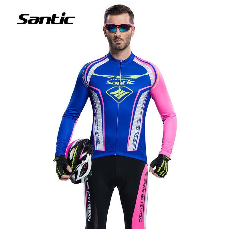 Santic Spring Long Sleeve Jersey Cycling Sets Men Suits Cycling Gel Pants Bike Boy Bule Cycling Clothing Sets Asia M5CT054B shengqi men s long sleeve cycling jersey pants set green black m