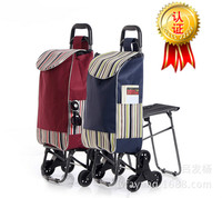 Crystal six wheeled bench climbing floor shopping cart folding portable shopping cart shopping cart trolley