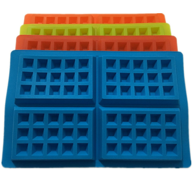 New 4-Cavity Waffle Mold Shape Food Grade Plastic,Cake Chocolate Pan, Silicone Mold Baking Mould Kitchen Bakeware Decorationg