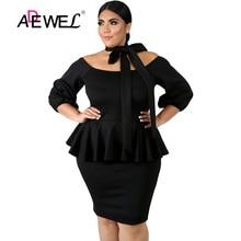 купить ADEWEL Casual Autumn Women Plus Size Black/White Peplum Dress Knee-Length Work Business Dress 5XL Large Size Office Dresses дешево