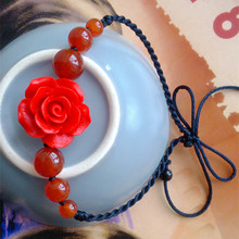 charm accessory female China style jewelry Anklets agate beads Anklets Anklet blossoming roses