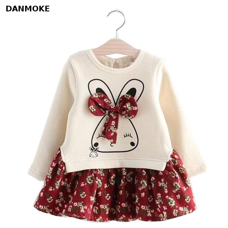 Danmoke Cute Rabbit and Flowers Printed Girls Long Sleeve Dress 2017 Winter Autumn Baby Girl Princess Dress 2 Color high collar long sleeve printed dress