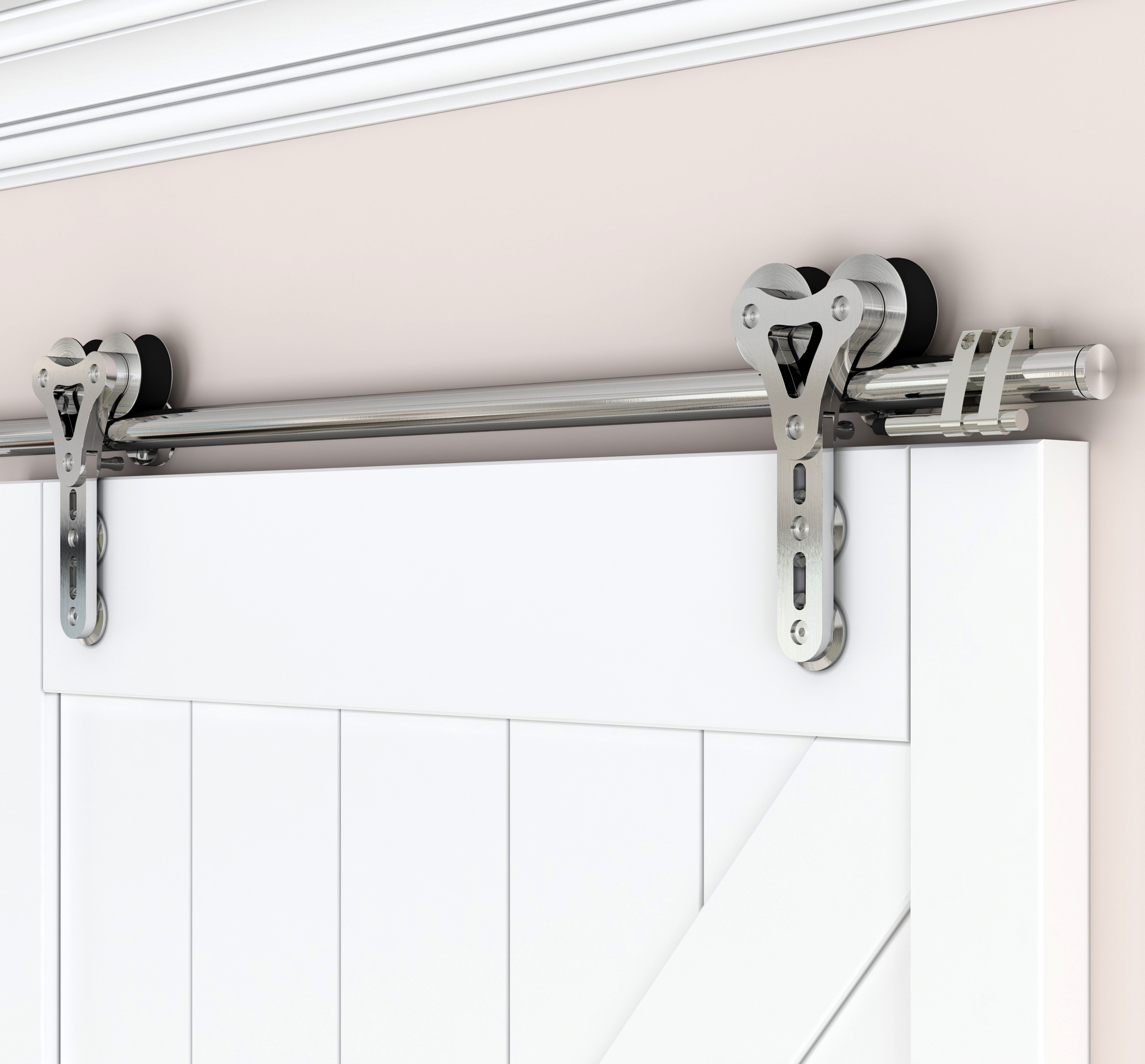 DIYHD Stainless Steel Sliding Barn Door Hardware Double Head Hollow-out Hanger Wheel Barn Track Sliding Kit