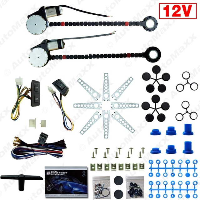 Car Auto Universal 2-Doors Electric Power Window Kits with 3pcs/Set Switches and Harness #J-902