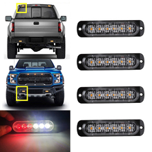 Car-Styling Bright White Red 6 LED Car Truck Van Beacon Strobe Warning Flashing Emergency Grille Police Light